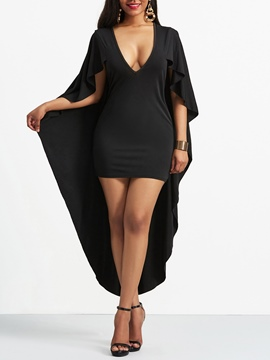 Ericdress V-Neck Asymmetric Batwing Sleeve Sexy Bodycon Dress