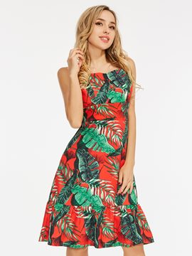 Prints Backless Floral Pattern A-Line Dress