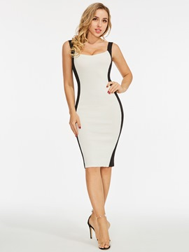 Color Block Sleeve Bodycon Sexy Dress