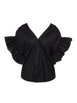 Black Plunge Single-Breasted Women's Blouse