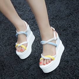 Ericdress Buckle Color Block Platform Wedge Sandals