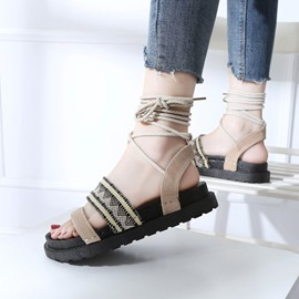 Ericdress Lace-Up Platform Ankle Strap Flat Sandals
