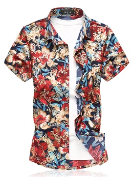 Ericdress Floral Print Loose Plus Size Mens Beach Short Sleeve Shirts