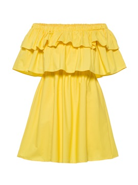 Off Shoulder Ruffle Chiffon Day Dress