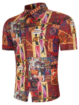 Ericdress Ethnic Style Printed Mens Short Sleeve Slim Shirts