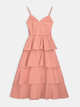 Ericdress Pink Pleated Pullover Layered A-Line Dress