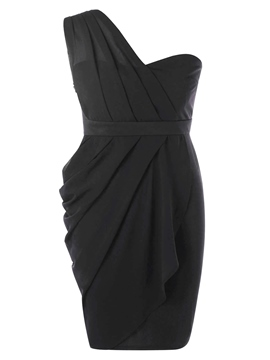 Ericdress Asymmetric Pleated Backless Patchwork Bodycon Dress