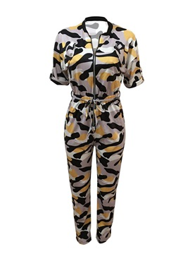 Ericdress Camo Zipper Women's Jumpsuit