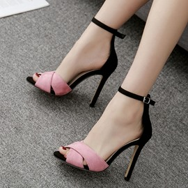 Ericdress Chic Color Block Peep Toe Stiletto Sandals