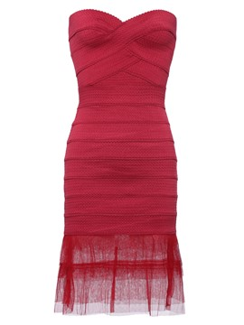 Red Strapless High-Waist Pullover Sheath Dress