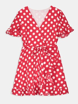 Red V-Neck Polka Dots Belt A-Line Dress