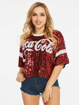 Sequins Glitter Letter Element Women's T-Shirt