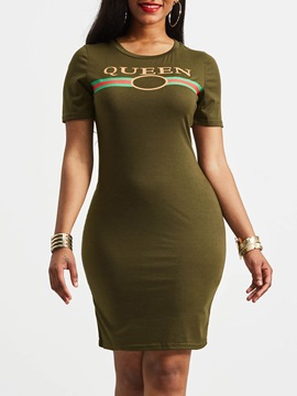 Ericdress Print Letter Pullover Simple Bodycon Dress
