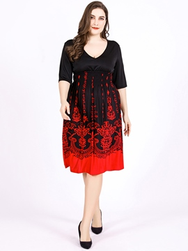 Ericdress V-Neck Floral Meryl Pleated Casual Dress