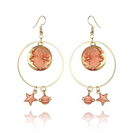 Ericdress Orange Star&Moon Drop Earrings