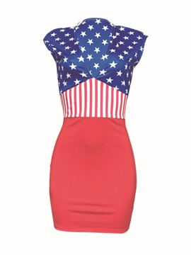 Ericdress V-Neck Print World Cup Bodycon Dress