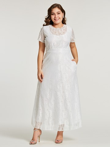 Ericdress Lace Patchwork High-Waist Plusee Maxi Dress