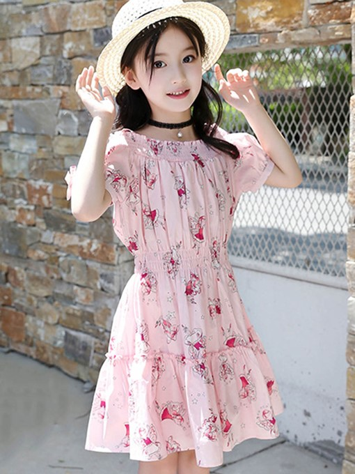 Ericdress Floral Print A-Line Spaghetti Strap Girl's Casual Dress