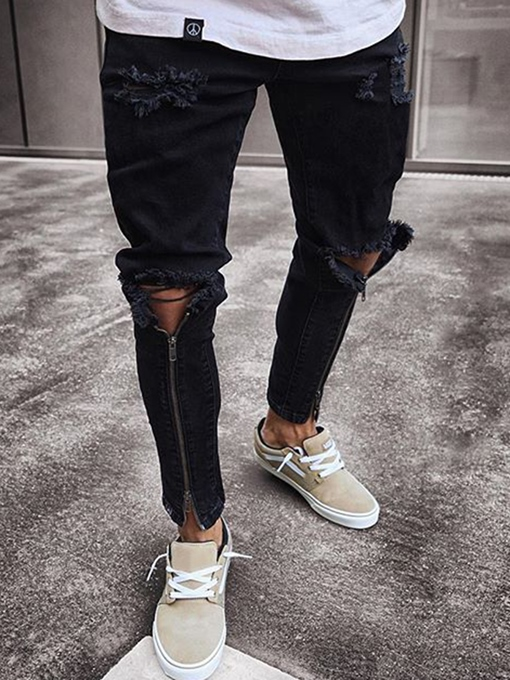 Ericdress Black Zip Designed Skinny Mens Ripped Jeans