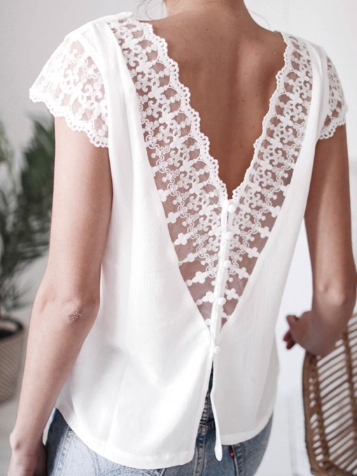 Ericdress Patchwork Lace V-Neck Backless Sexy Blouse