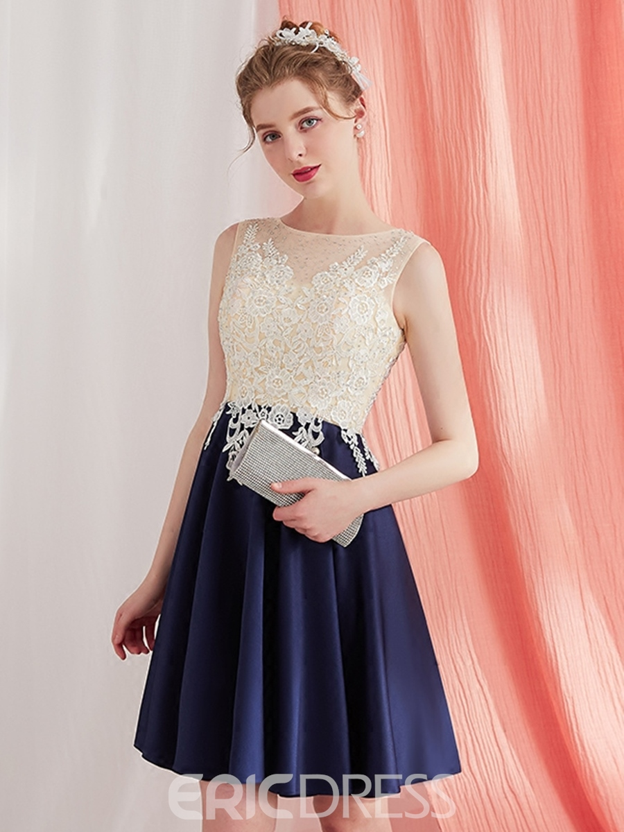 Ericdress A Line Short Homecoming Dress With Lace Applique