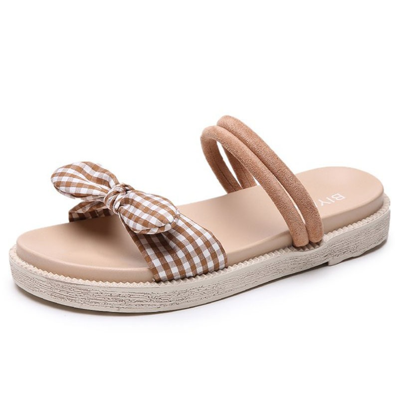 Ericdress Bowknot Gingham Platform Slip-On Flat Sandals