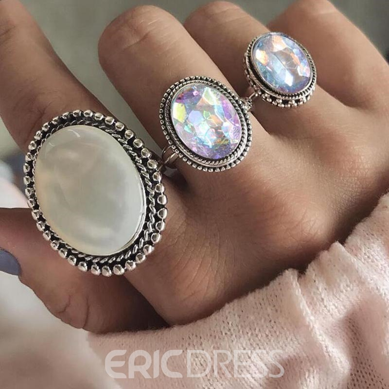 Ericdress Oval Gems Ring