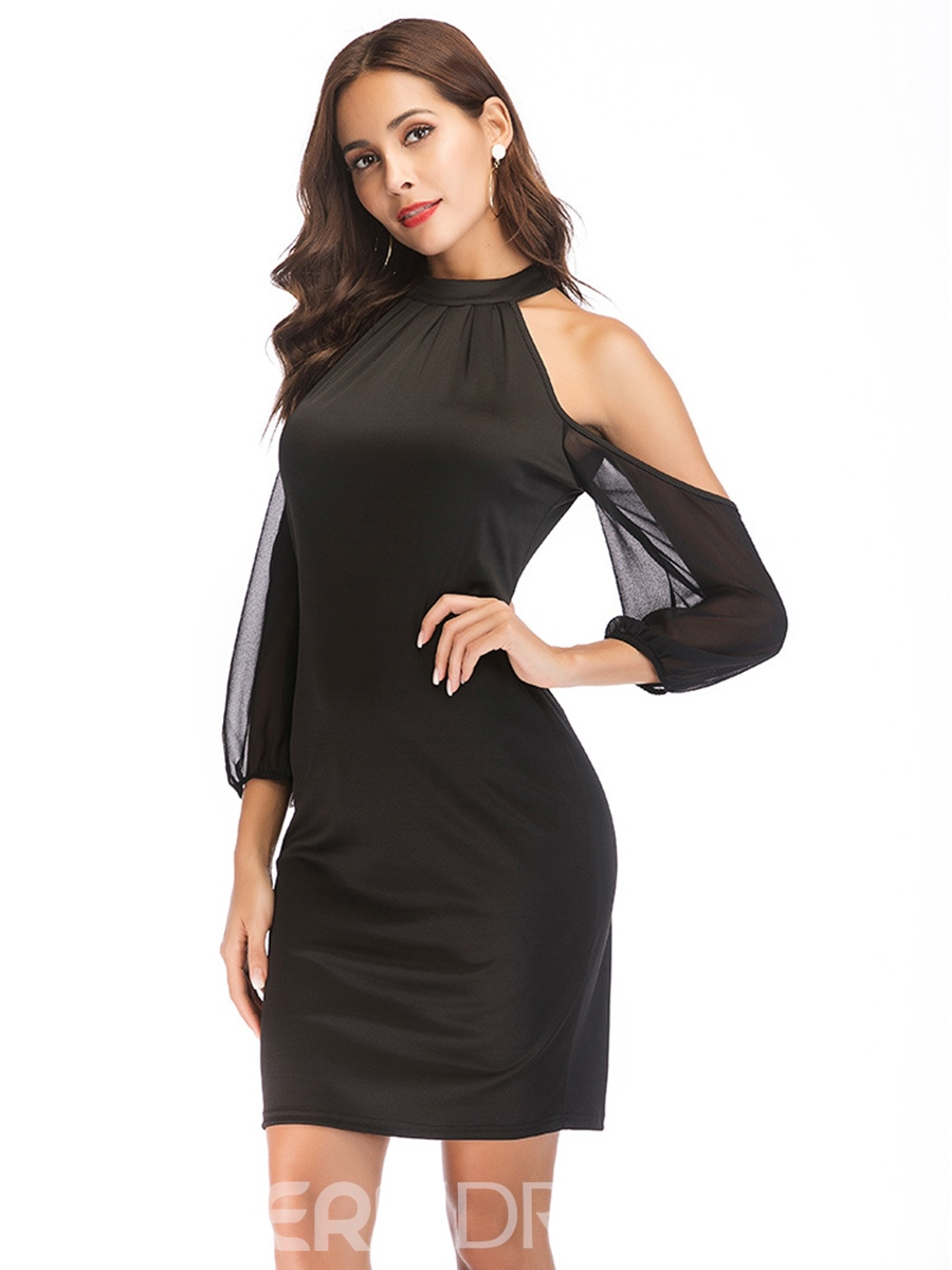 Ericdress Nine Points Sleeves Zipper Sexy Bodycon Dress