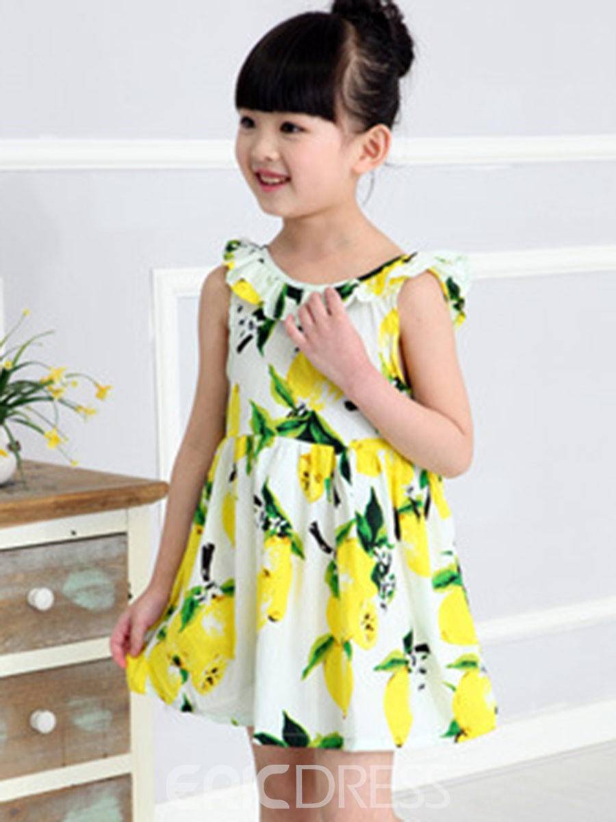 Ericdress Floral Print Scoop Girl's Casual Dress