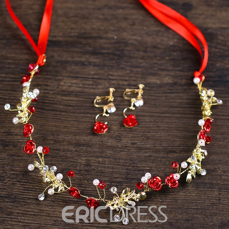 Ericdress Red Hand Made Ruby Rose Hair Band