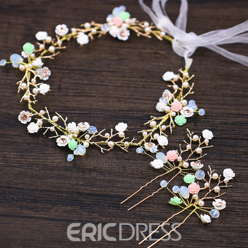 Ericdress Hand Made Colorful Flower Hair Garland