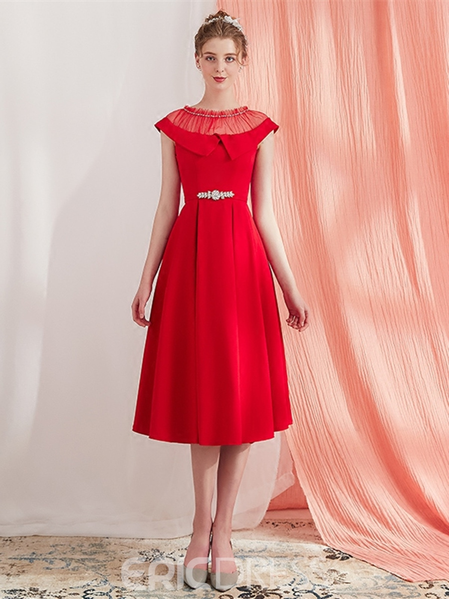 Ericdress A Line Cap Sleeve Vintage Prom Dress