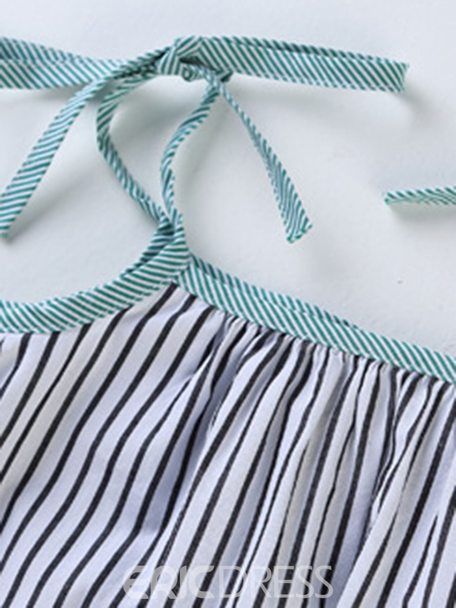 Ericdress Spaghetti Strap Stripe Lace Up Girl's Casual Dress