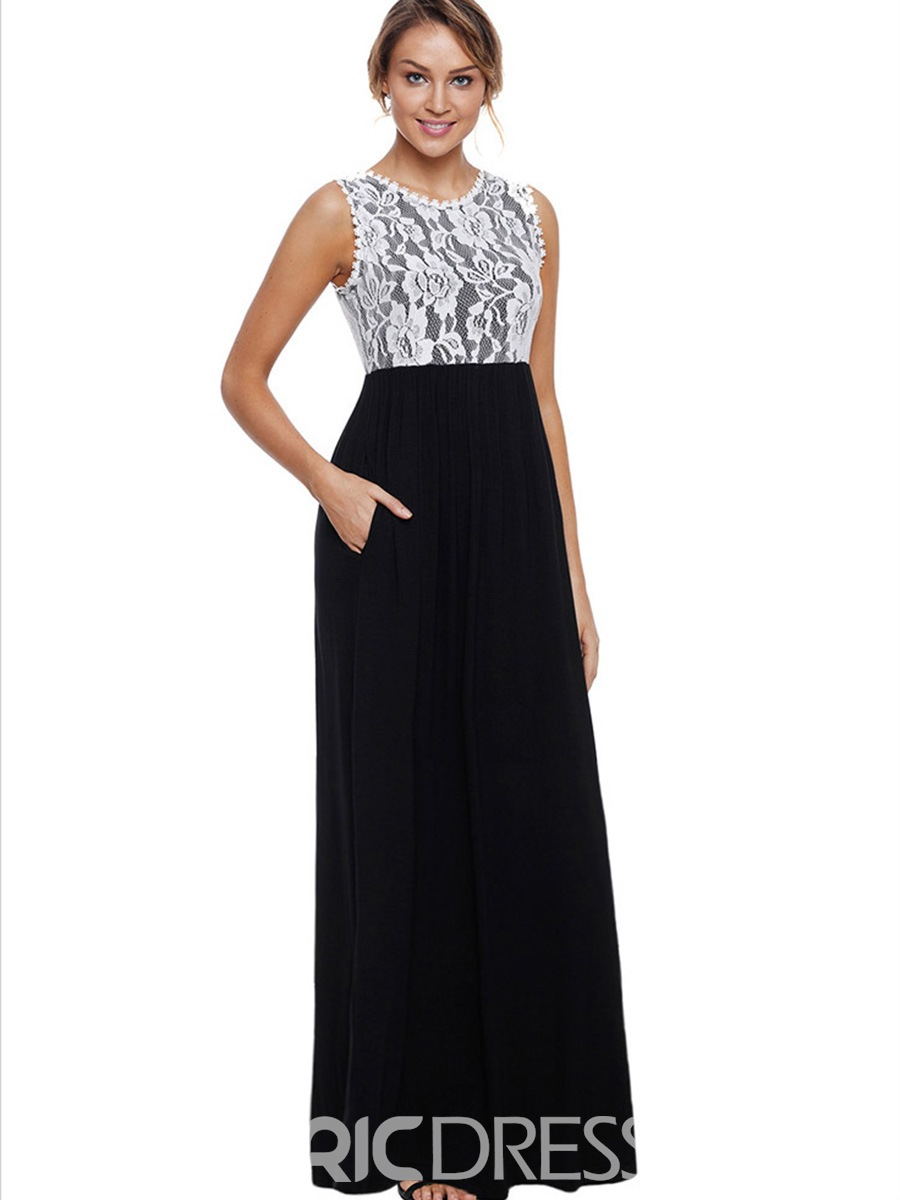Ericdress Patchwork Lace Single Ladylike A-Line Dress