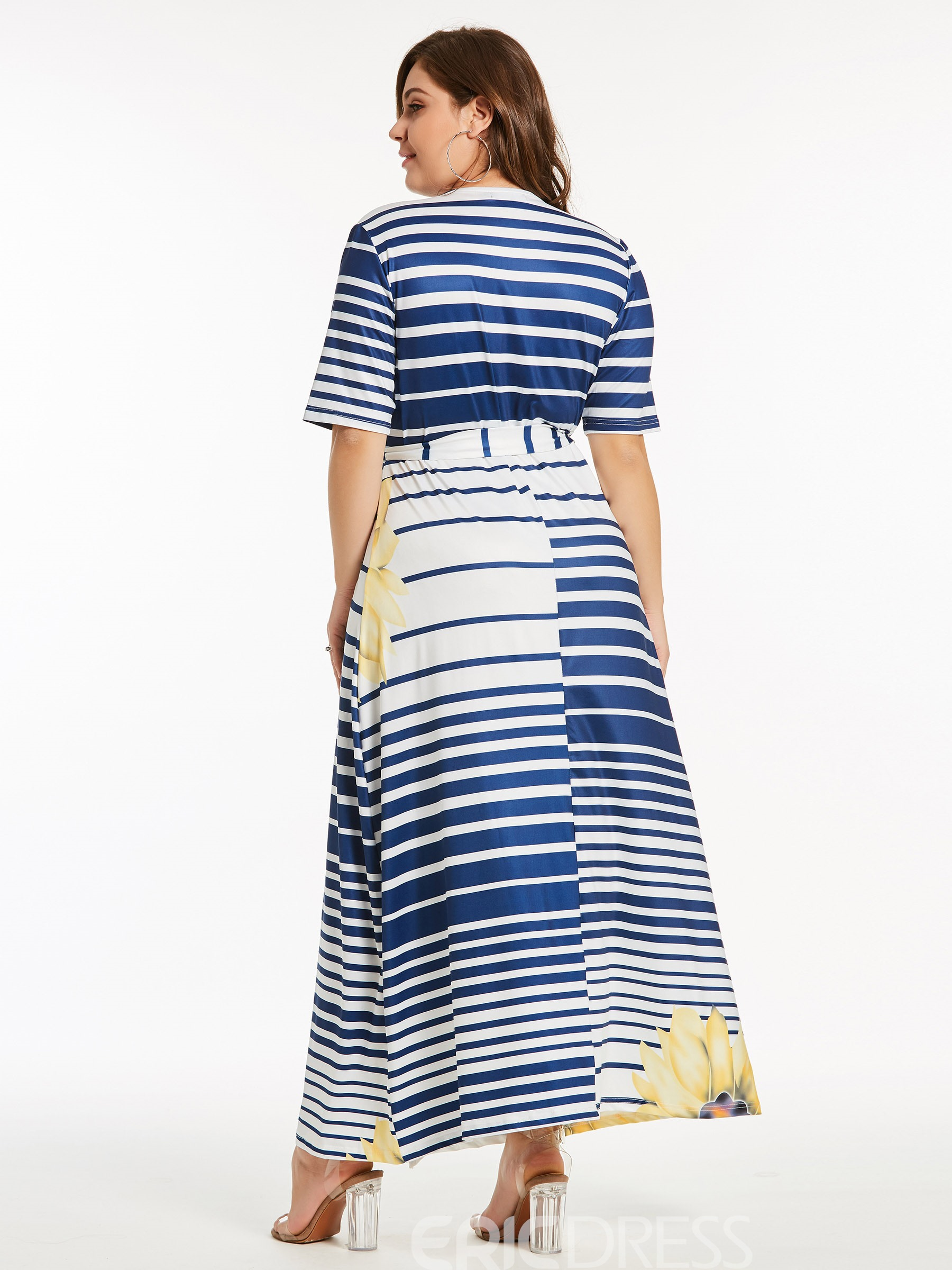Ericdress Yellow V-Neck Stripe Floral Maxi Dress