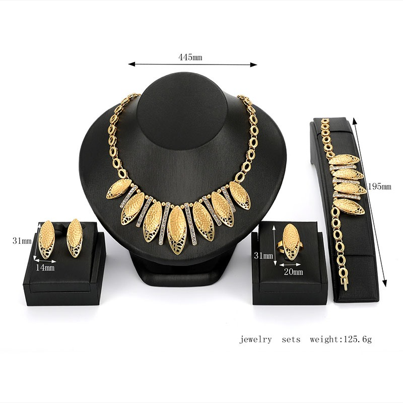 Ericdress Golden Leaves Jewelry Set