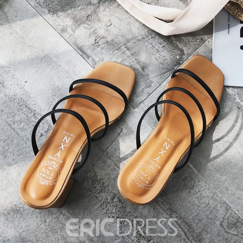 Ericdress Slip-On Flip Flop Chunky Heel Mules Shoes