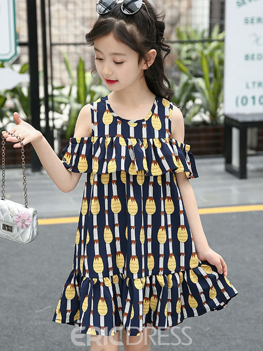 Ericdress A-Line Off Shoulder Printed Girl's Beach Summer Dress