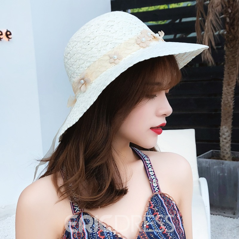 Ericdress Pearl Flower Summer Hat