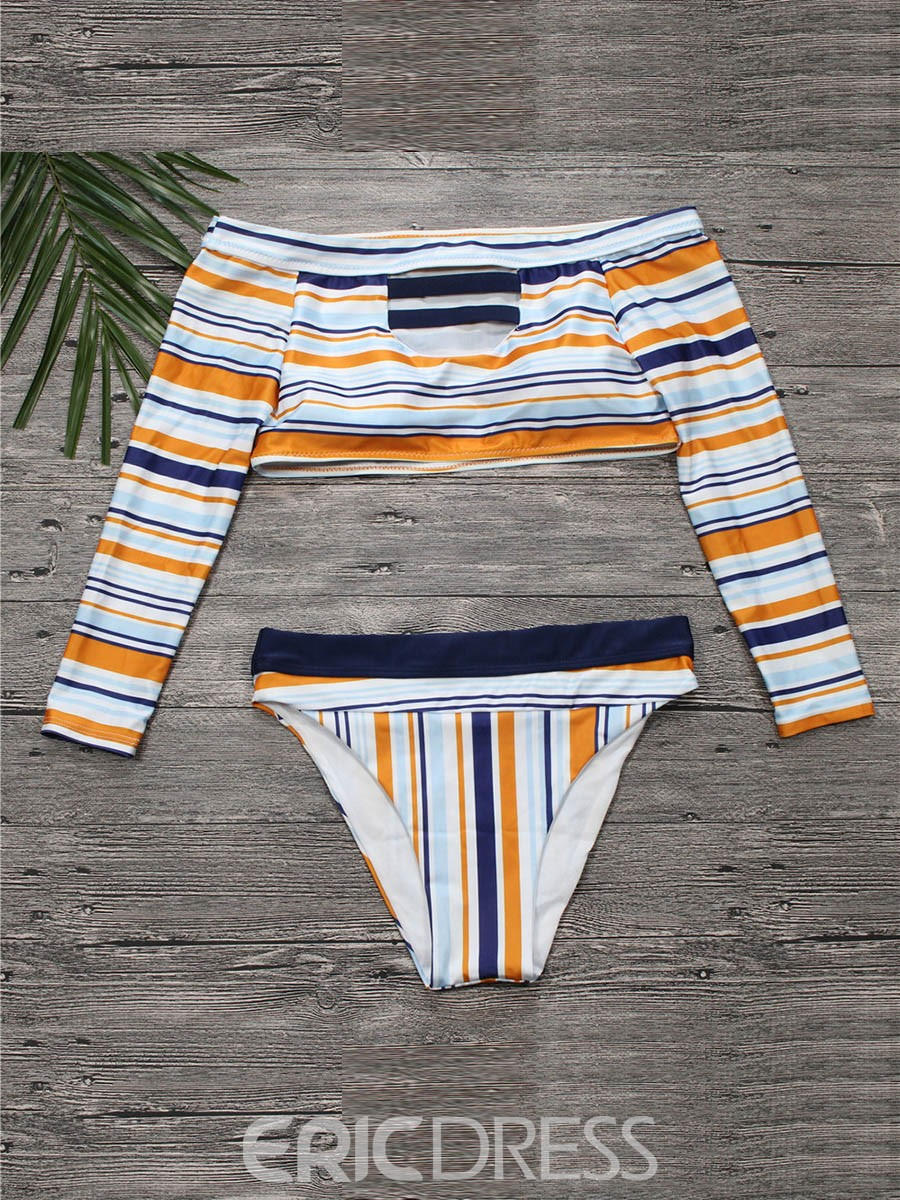 Off the Shoulder Long Sleeve High Waist Hole Stripe Bikini Bathing Suits