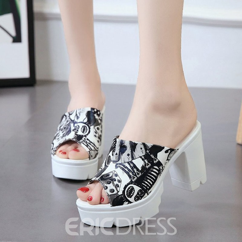 Ericdress Print Platform Slip-On Chunky Heel Mules Shoes