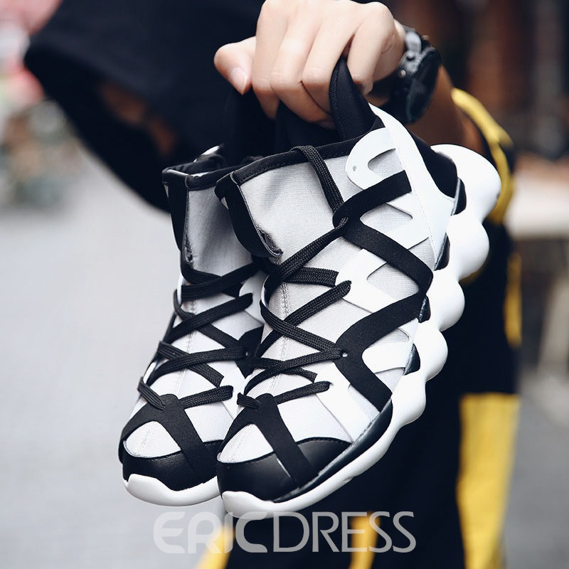 Ericdress Patchwork Lace-Up High-Cut Upper Men's Sneakers