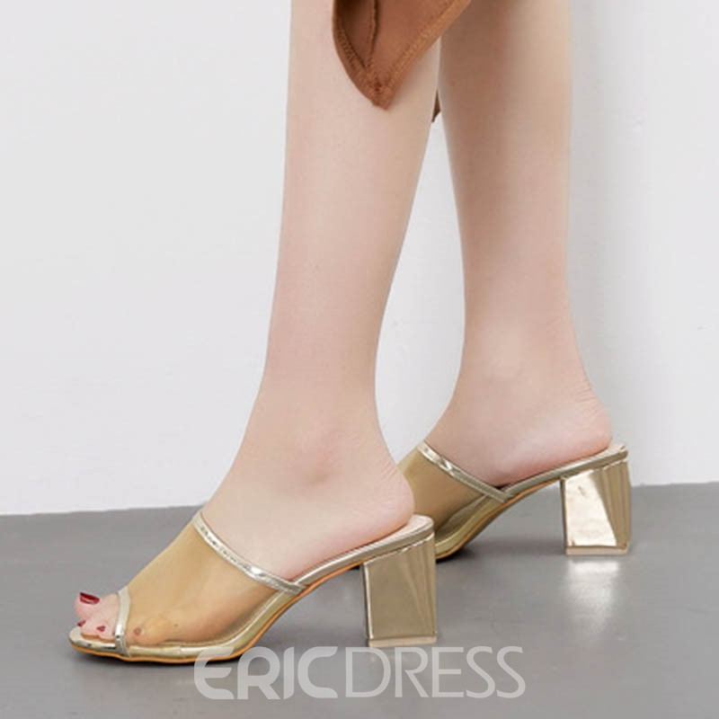 Ericdress Slip-On Peep Toe Chunky Heel Mules Shoes