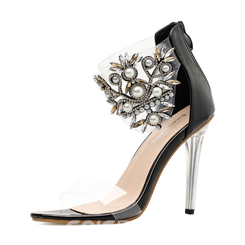 Ericdress Rhinestone Beads Patchwork Stiletto Sandals