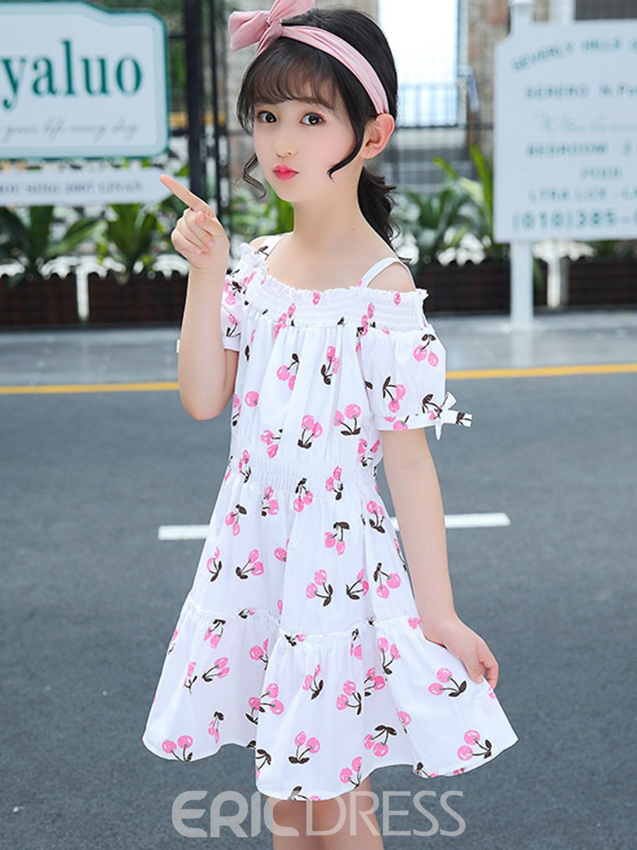 Ericdress Floral Printed Bowknot Spaghetti Strap Girl's Casual Dress