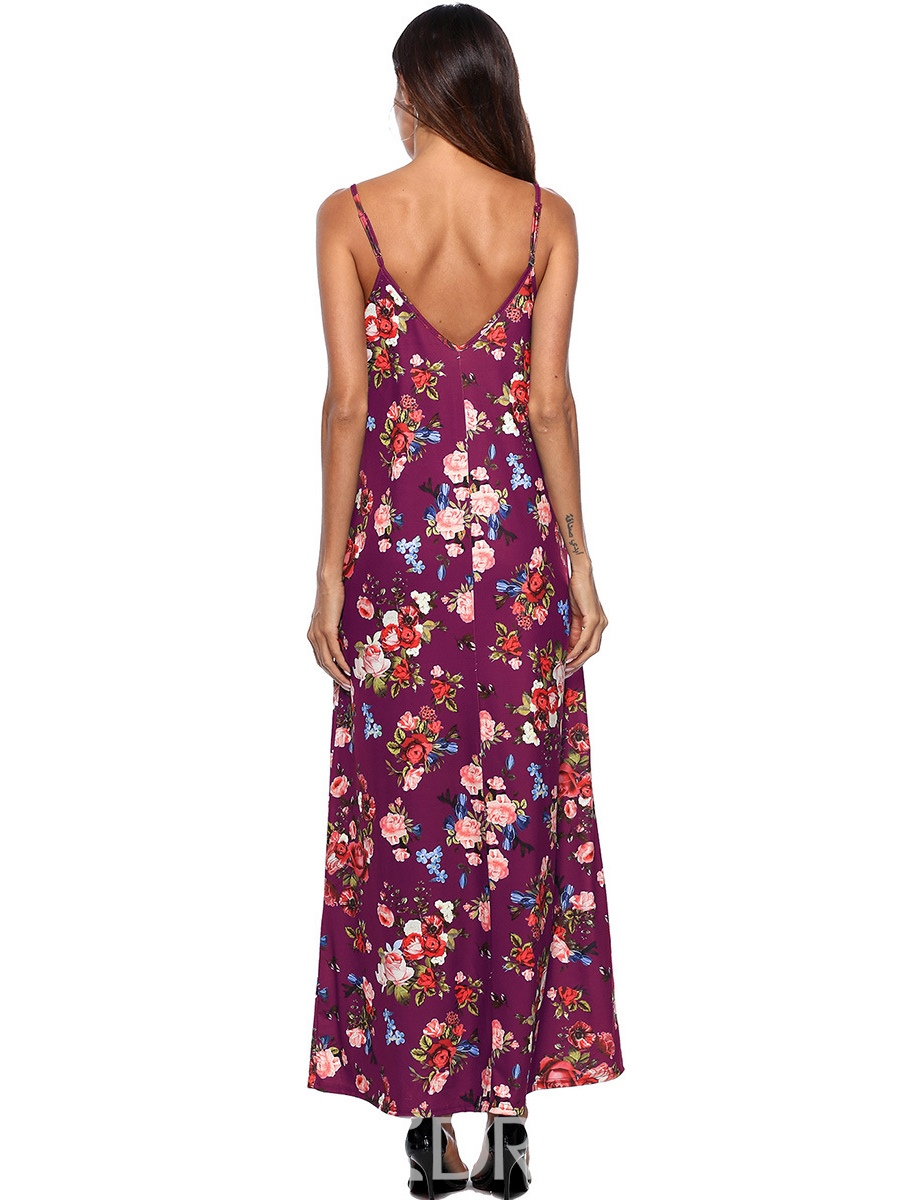 Ericdress V-Neck Floral Spaghetti Strap A-Line Dress