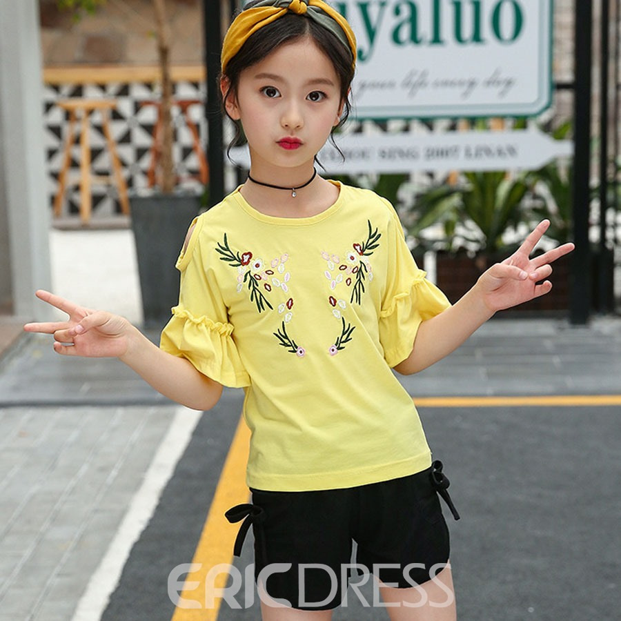 Ericdress Floral Embroidery Flare Sleeve Girl's Scoop T Shirt