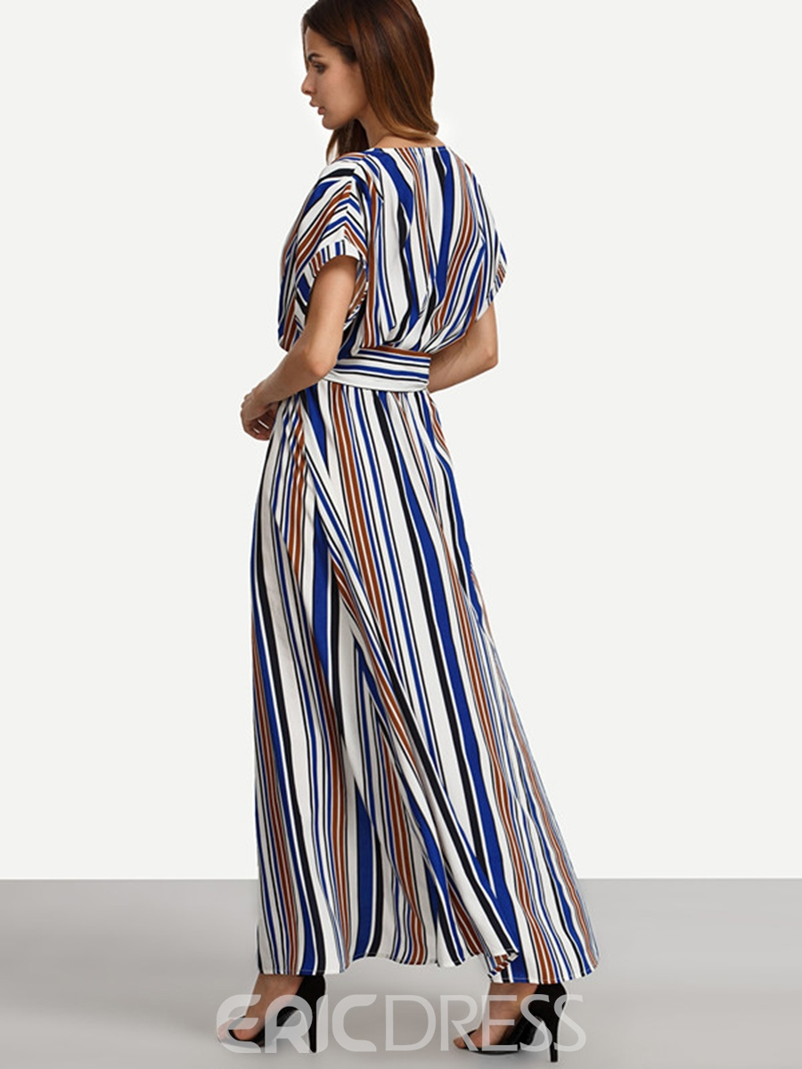 Ericdress Blue V-Neck Stripe Batwing Sleeve Maxi Dress