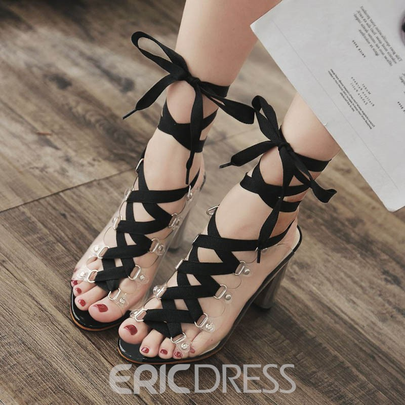 Ericdress Transparent Strappy Lace-Up PVC Sandals