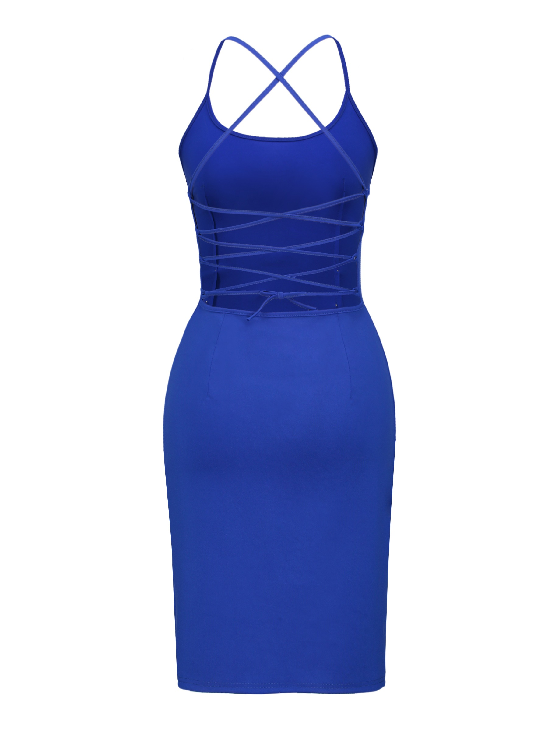 Ericdress Hollow Backless Bead Spaghetti Strap Bodycon Dress